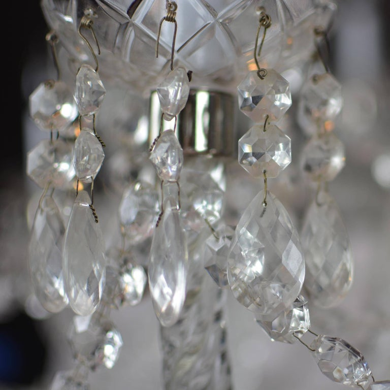 Elegant Large Two-Tier Eighteen-Arm Crystal Chandelier Draping Crystal Beading For Sale 4