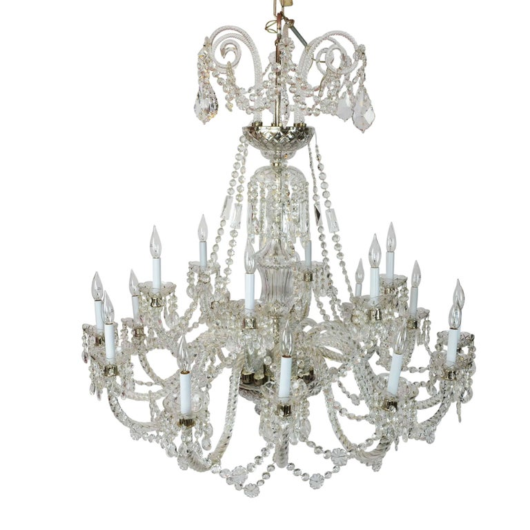 Elegant Large Two-Tier Eighteen-Arm Crystal Chandelier Draping Crystal Beading For Sale