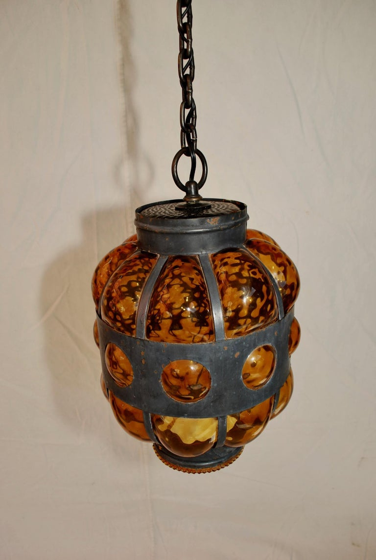 American Elegant Light with Hands Blown Glass For Sale