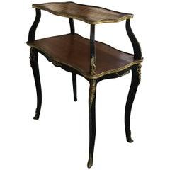 Elegant Louis XV Style Two-Tier Walnut Parquet Top Side Table