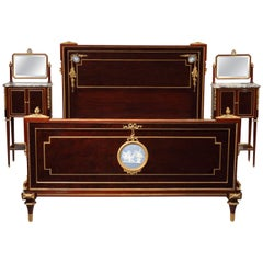 Elegant Louis XVI Style Veneered Wood Bedroom Set Attributed to A. Krieger