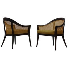 Elegant Lounge Chairs in Cane and Mahogany by Harvey Probber