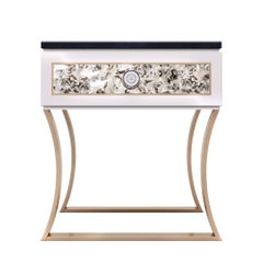 Elegant lounge sofa-side table in high-gloss lacquer and special resin finish