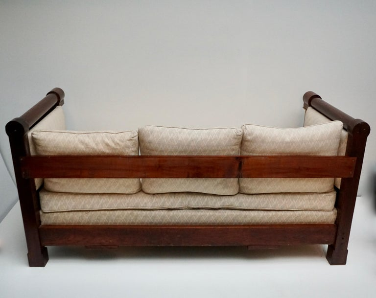 Elegant Mahogany and Gilt Bronze Empire Mahogany Settee Sofa For Sale 5