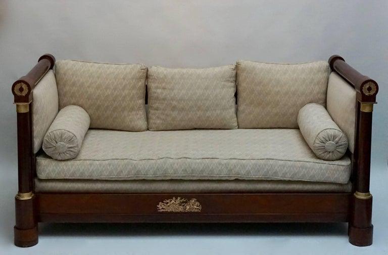 Elegant Mahogany and Gilt Bronze Empire Mahogany Settee Sofa For Sale 2