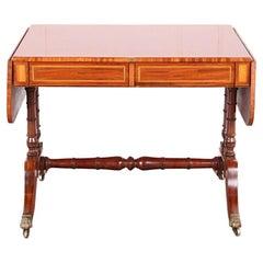 Elegant Mahogany Inlaid Sofa Table on Saber Legs from Paris, C.1860