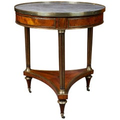 Elegant Mahogany Louis XVI Period Gueridon with Marble Top