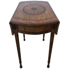 Elegant Mahogany and Satinwood Inlaid Pembroke Drop-Leaf Side Table