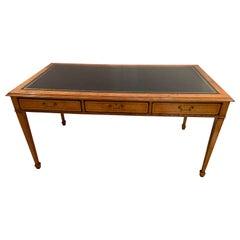 Elegant Mahogany Vintage Writing Desk with Black Leather Top