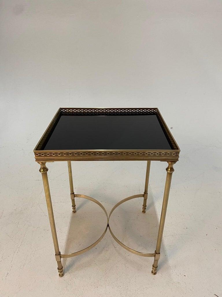 Hollywood Regency Elegant Maison Jansen Brass & Black Glass Rectangular Cocktail End Table For Sale
