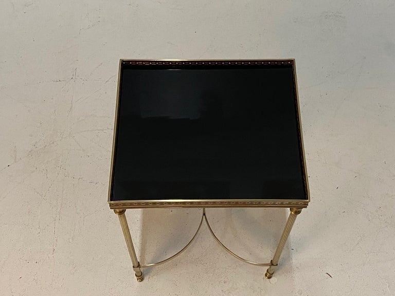 French Elegant Maison Jansen Brass & Black Glass Rectangular Cocktail End Table For Sale