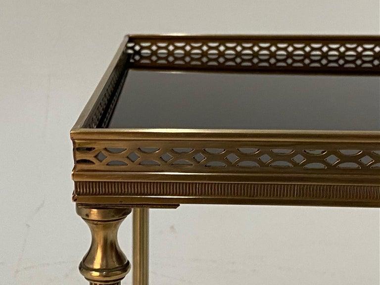 Mid-20th Century Elegant Maison Jansen Brass & Black Glass Rectangular Cocktail End Table For Sale