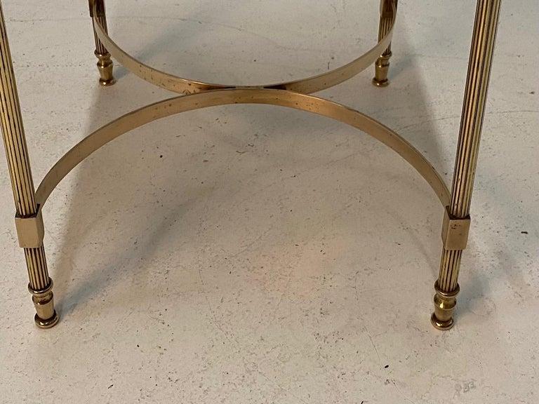 Elegant Maison Jansen Brass & Black Glass Rectangular Cocktail End Table For Sale 1