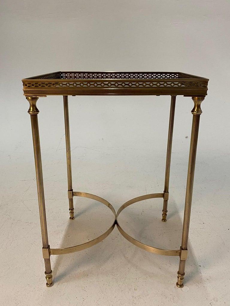 Elegant Maison Jansen Brass & Black Glass Rectangular Cocktail End Table For Sale 2