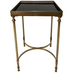 Elegant Maison Jansen Brass & Black Glass Rectangular Cocktail End Table