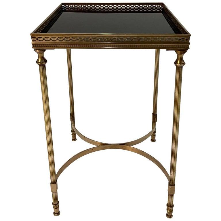 Elegant Maison Jansen Brass & Black Glass Rectangular Cocktail End Table For Sale