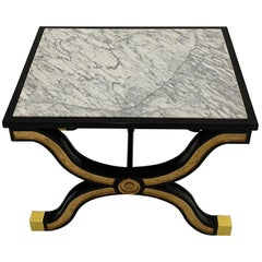 Elegant Maison Jansen Ebonized and Gilded End Table with Marble Top