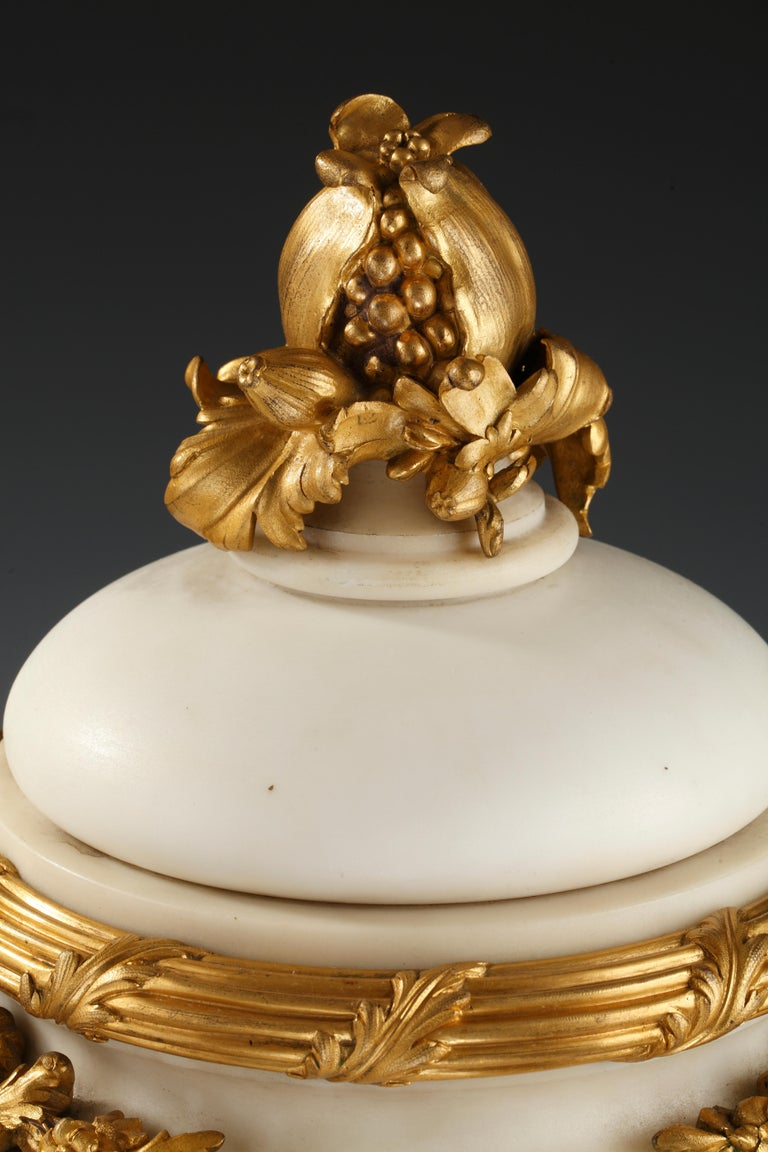 Gilt Elegant Marble Covered Urn Attributed to E. Cornu For Sale