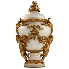 Elegant Marble Covered Urn Attributed to E. Cornu