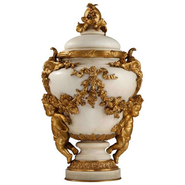 Elegant Marble Covered Urn Attributed to E. Cornu For Sale