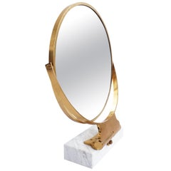 Elegant Massive Brass and Marble Vanities Table Mirror