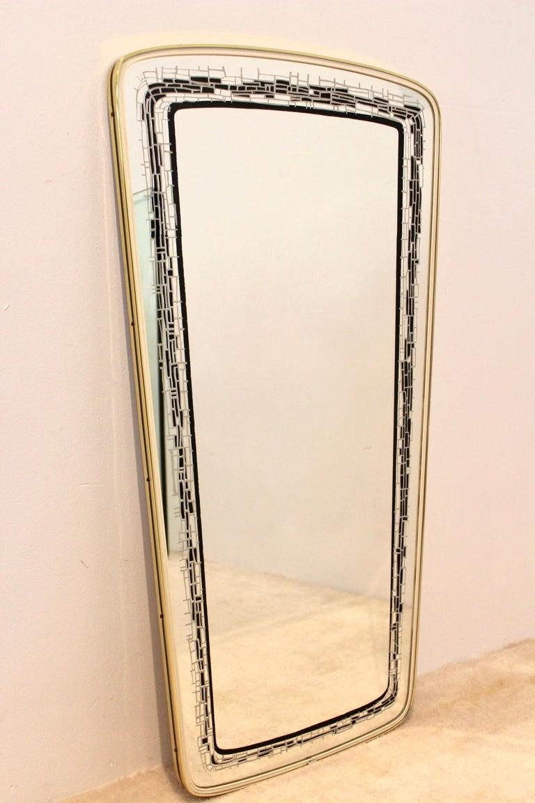 Mid-Century Modern Elegant Midcentury Brass Framed Mirror, France For Sale