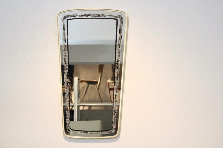 French Elegant Midcentury Brass Framed Mirror, France For Sale