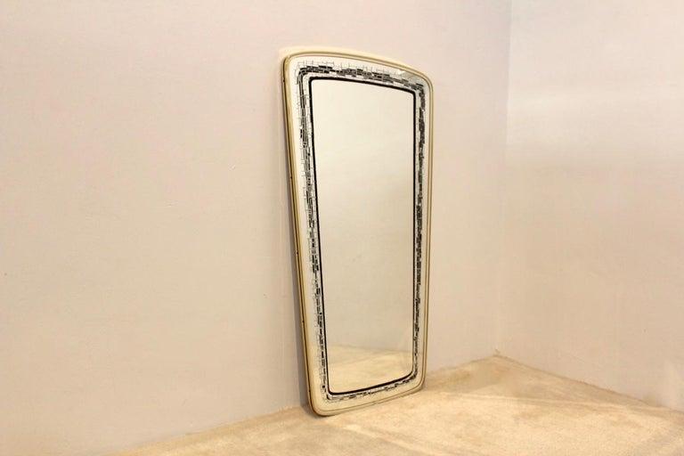Elegant Midcentury Brass Framed Mirror, France In Good Condition For Sale In Voorburg, NL
