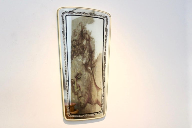 20th Century Elegant Midcentury Brass Framed Mirror, France For Sale
