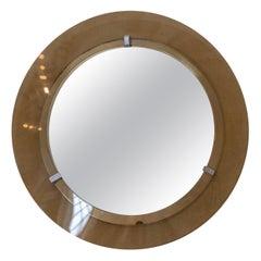 Elegant Mid-Century Glass Mirror Attributed to Cristal Art