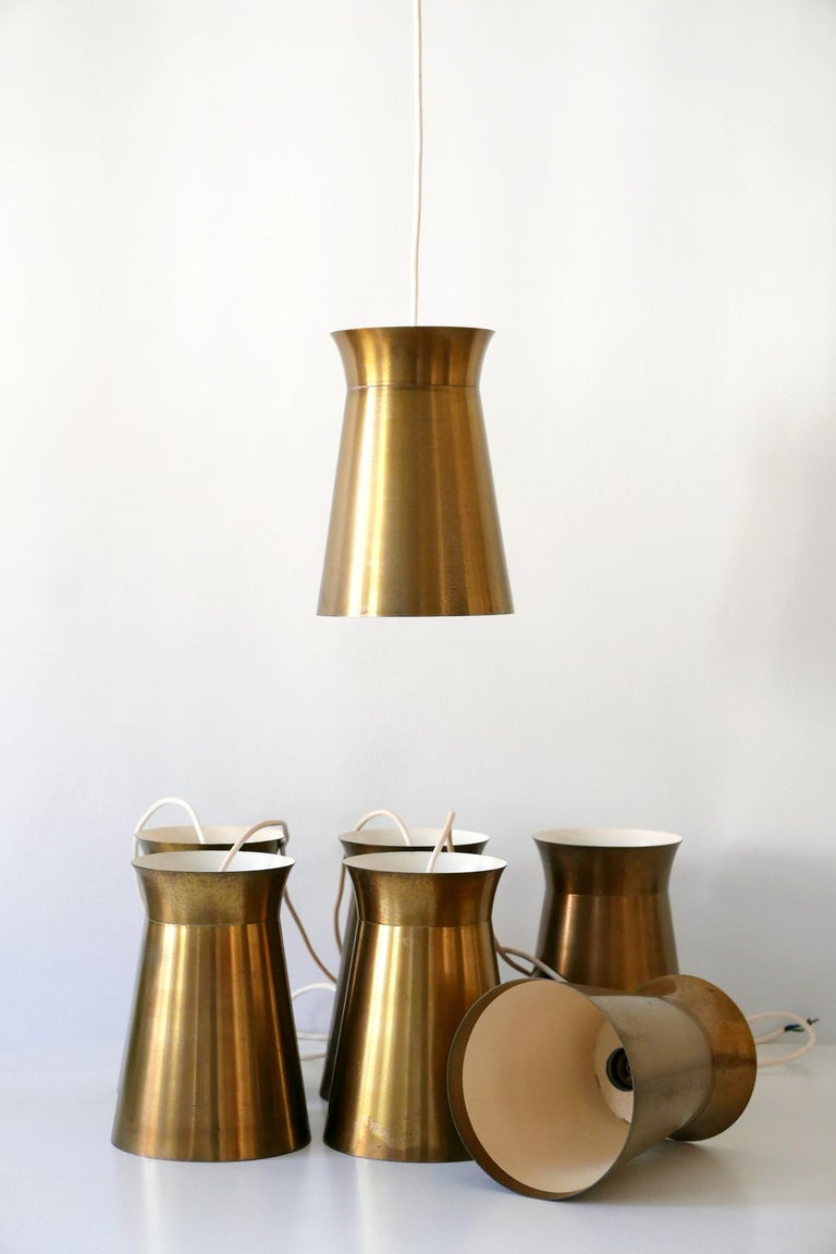 Elegant Mid-Century Modern Brass Pendant Lamps or Hanging Lights, 1950s, Germany For Sale 6