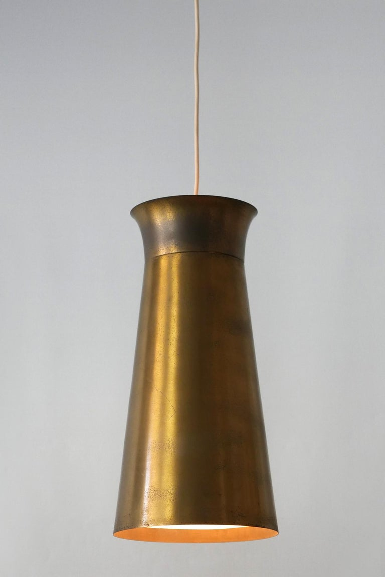 Elegant Mid-Century Modern Brass Pendant Lamps or Hanging Lights, 1950s, Germany For Sale 8