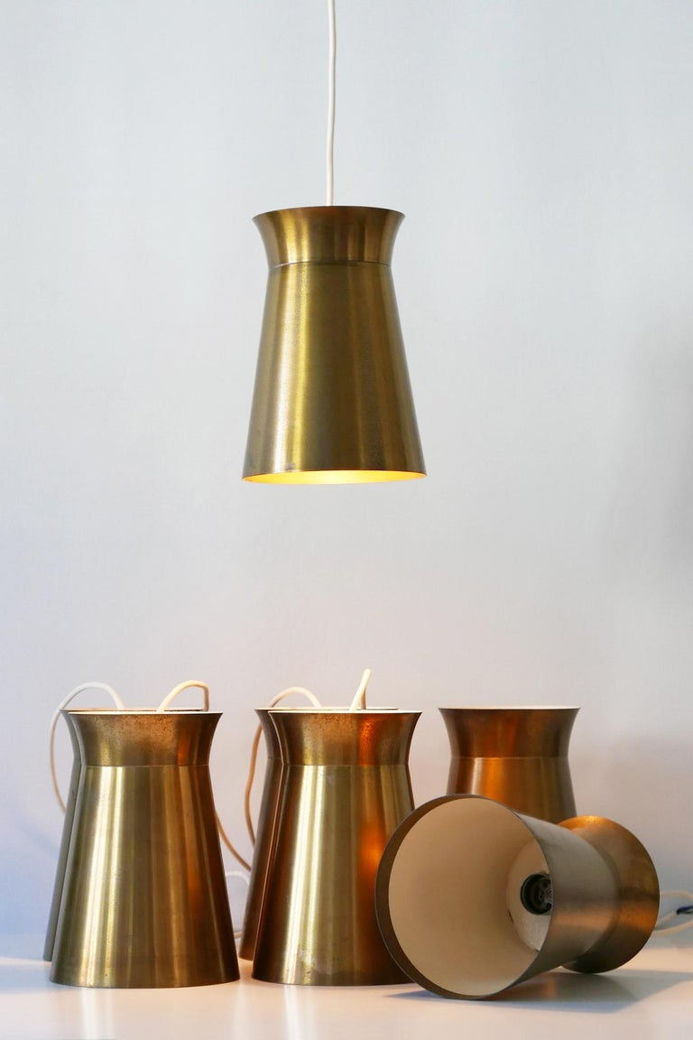 Elegant Mid-Century Modern Brass Pendant Lamps or Hanging Lights, 1950s, Germany For Sale 9