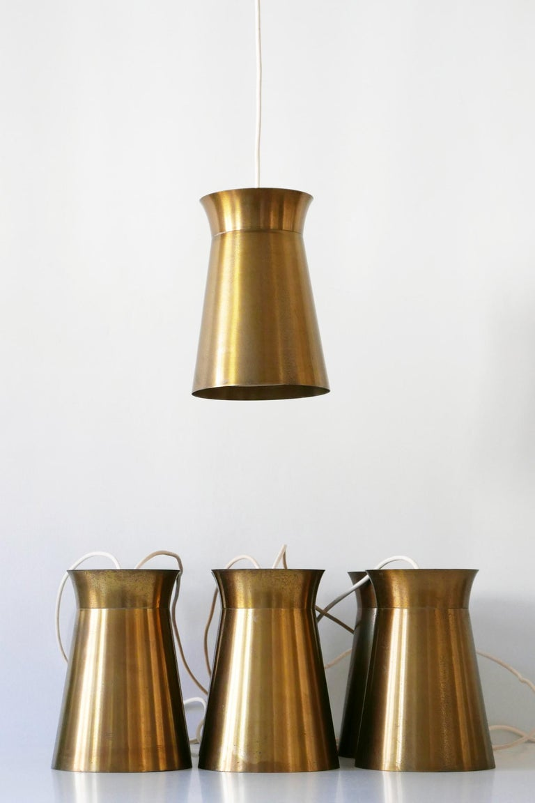 Elegant Mid-Century Modern Brass Pendant Lamps or Hanging Lights, 1950s, Germany For Sale 11