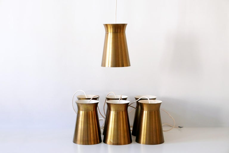 Elegant Mid-Century Modern Brass Pendant Lamps or Hanging Lights, 1950s, Germany For Sale 12