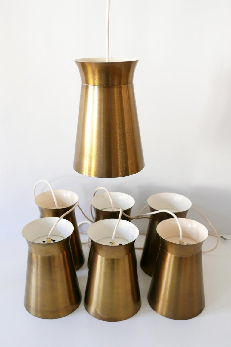 Elegant Mid-Century Modern Brass Pendant Lamps or Hanging Lights, 1950s, Germany For Sale 13