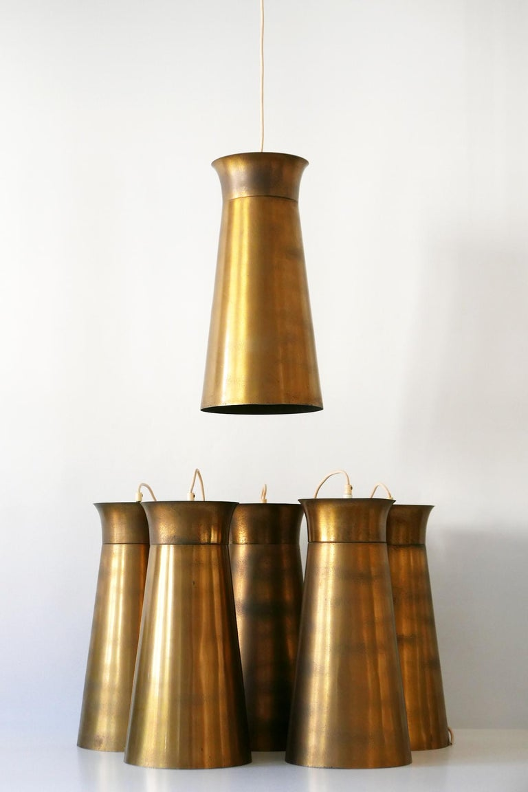 Elegant Mid-Century Modern Brass Pendant Lamps or Hanging Lights, 1950s, Germany For Sale 14