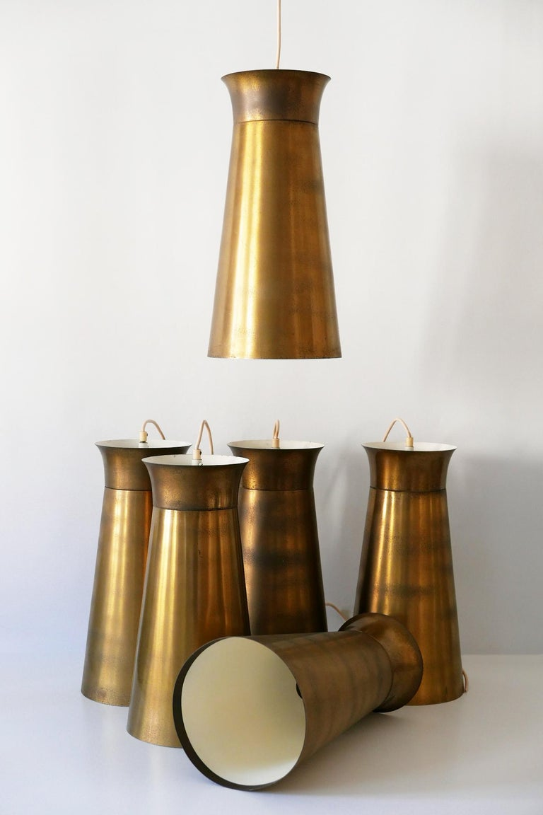 Elegant Mid-Century Modern Brass Pendant Lamps or Hanging Lights, 1950s, Germany For Sale 15