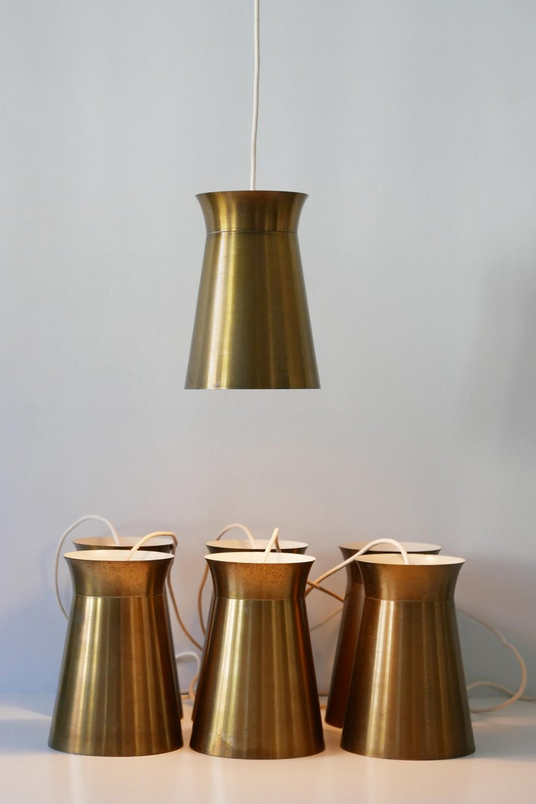 Elegant Mid-Century Modern Brass Pendant Lamps or Hanging Lights, 1950s, Germany In Good Condition For Sale In Munich, DE