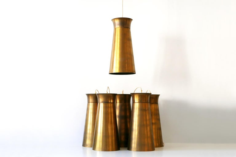 Elegant Mid-Century Modern Brass Pendant Lamps or Hanging Lights, 1950s, Germany For Sale 1
