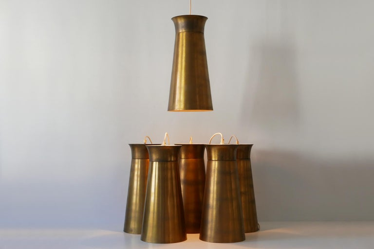 Elegant Mid-Century Modern Brass Pendant Lamps or Hanging Lights, 1950s, Germany For Sale 2