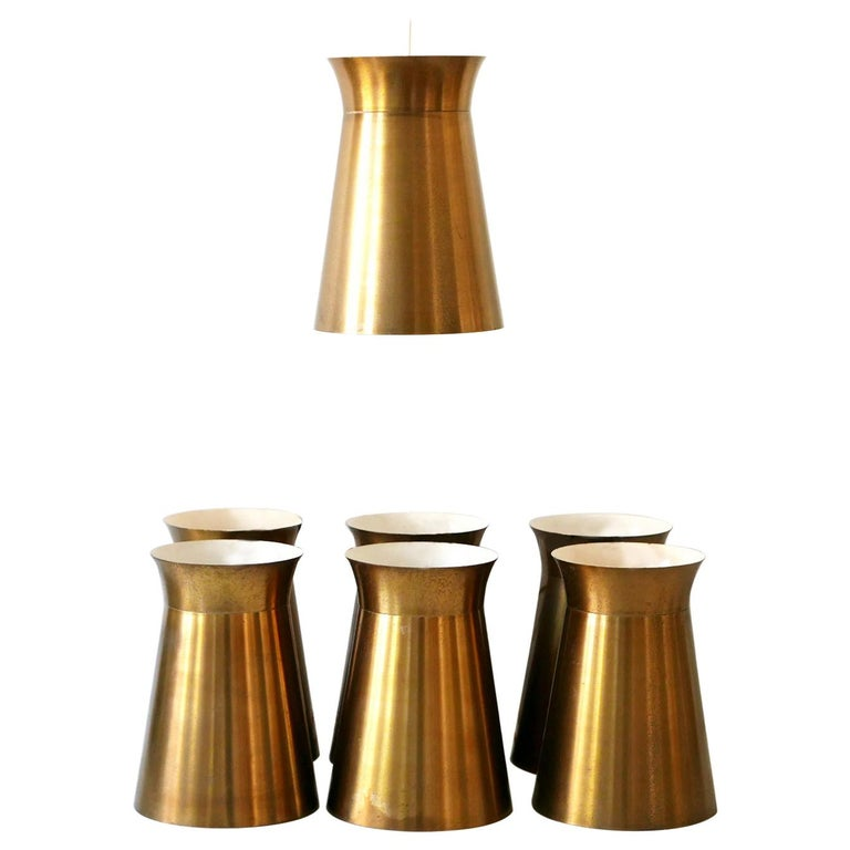 Elegant Mid-Century Modern Brass Pendant Lamps or Hanging Lights, 1950s, Germany For Sale