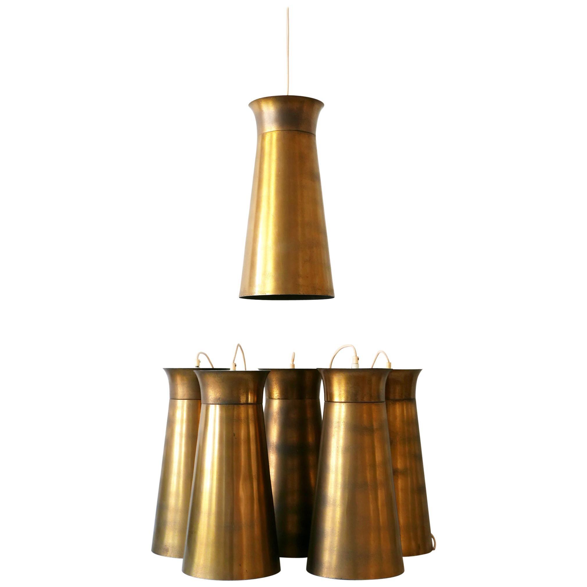 Elegant Mid-Century Modern Brass Pendant Lamps or Hanging Lights, 1950s, Germany