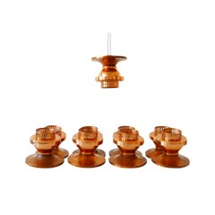 Elegant Mid-Century Modern Copper Ceiling Lamps or Flush Mounts, 1960s, Denmark