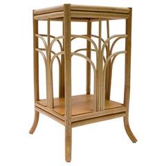 Elegant Mid-Century Modern Italian Bamboo and Rattan Flower Stand