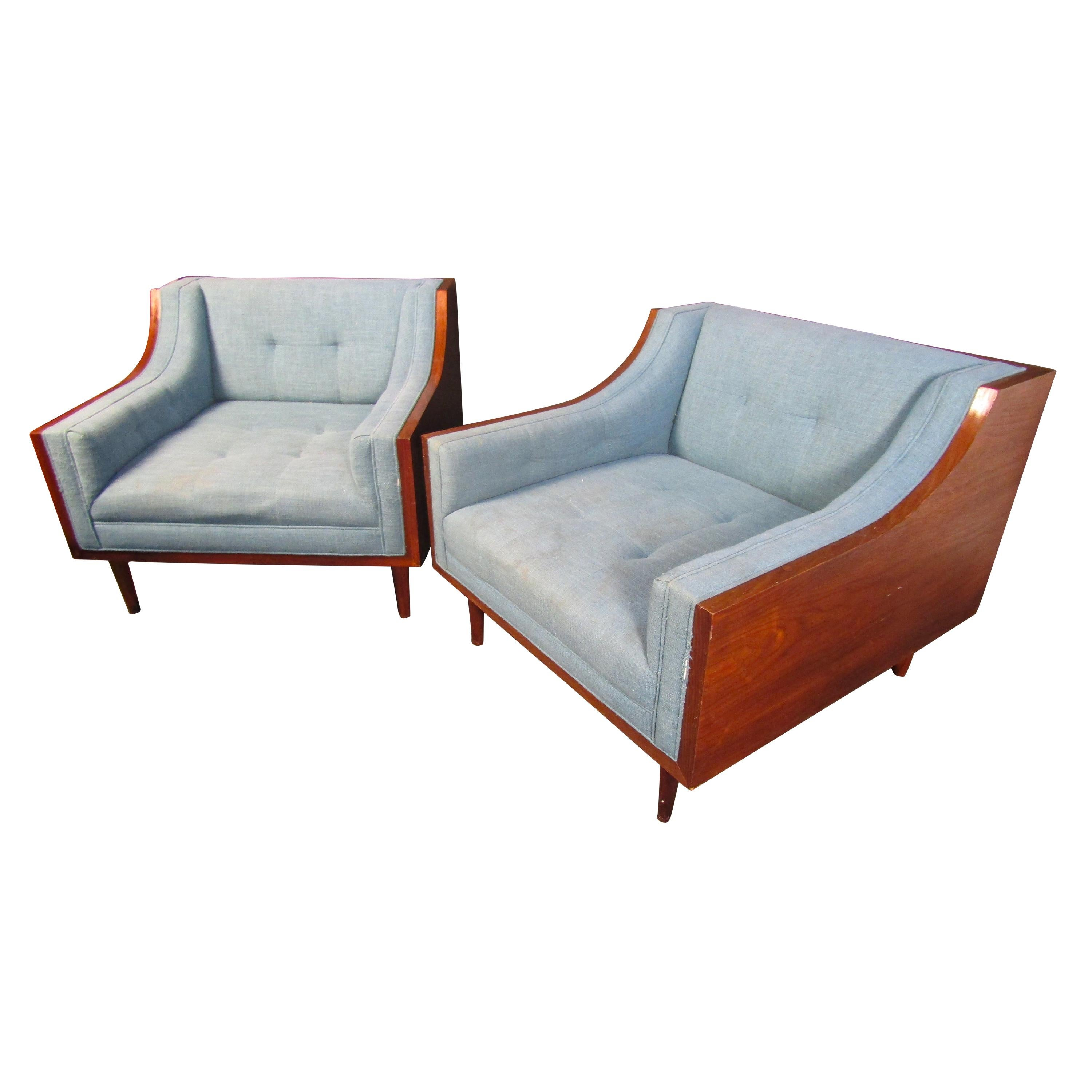 Elegant Mid-Century Modern Wood and Blue Fabric Lounge Chairs