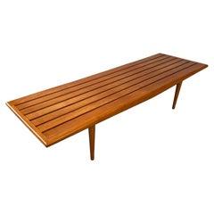 Elegant Mid Century Modernist Coffee Table/ Slat Bench