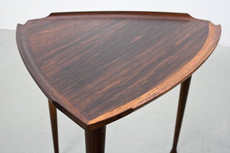 Oiled Elegant Midcentury Scandinavian Modern Nesting Tables, Denmark, 1960s For Sale
