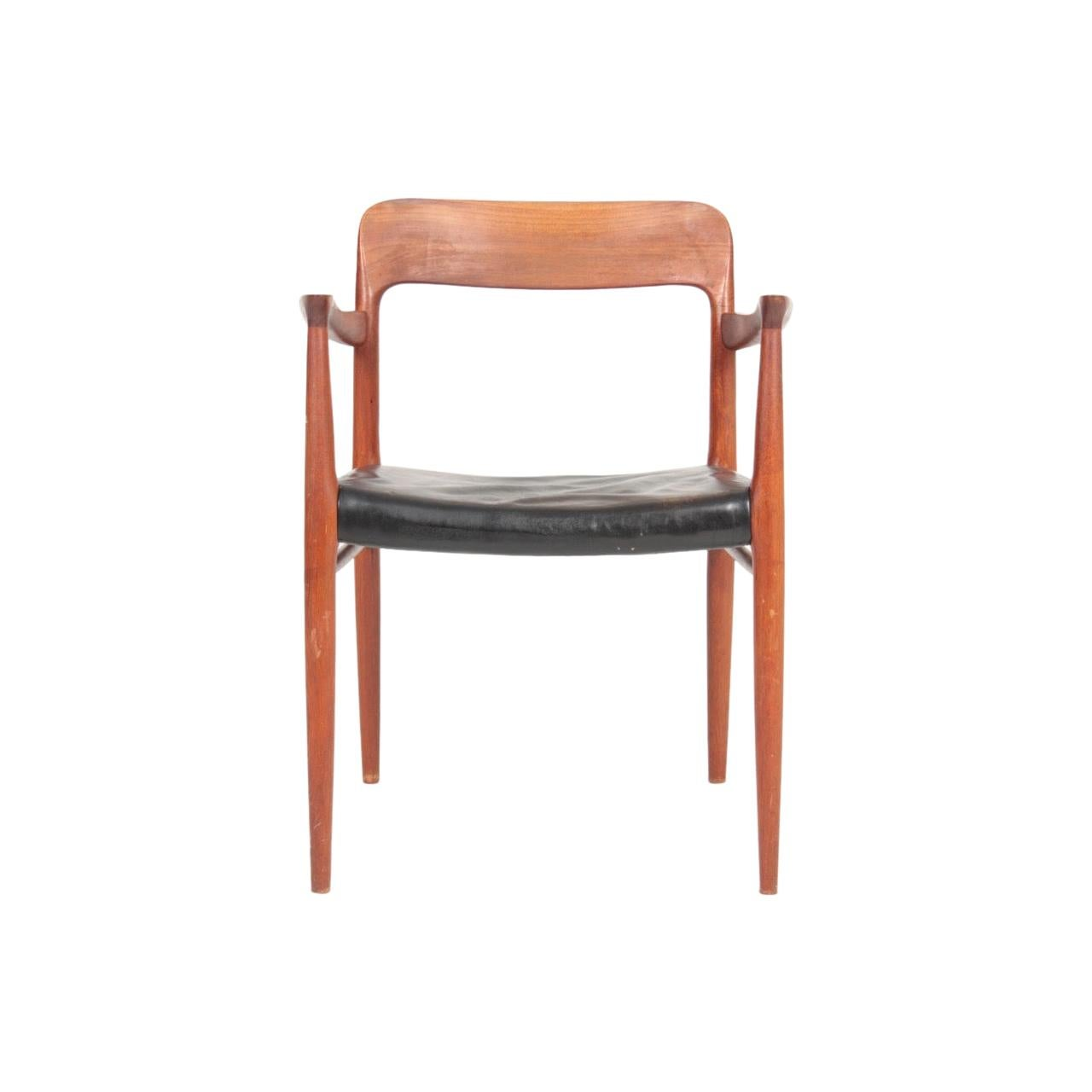 Elegant Midcentury Armchair in Teak and Patinated Leather by N.O Moeller