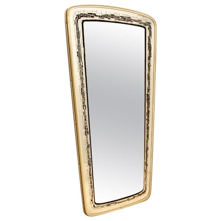 Elegant Midcentury Brass Framed Mirror, France For Sale
